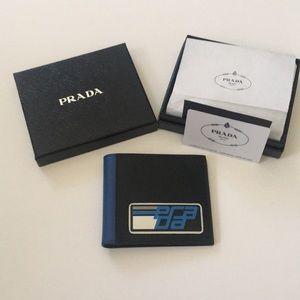 Men's Prada Wallet Black With Blue And White Logo